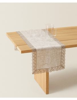 Linen Table Runner With Lace Trim by Zara Home