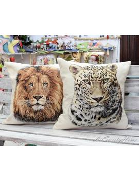 Leopard And Lion Tapestry Cushion Cover, Throw Pillow, Africa Themed Pillow, Decorative Woven Pillow Cover, Safari Cushion, Pillow Case by Etsy