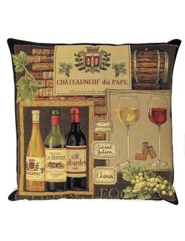 Belgian Tapestry Throw Pillow Cushion Cover Wine Labels Chateauneuf Du Pape Provence by Etsy