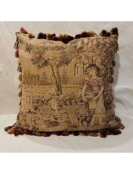 Vintage Belgian Tapestry Pillow, Children Dogs, Gold Beige Gray Rose, Newly Made by Etsy