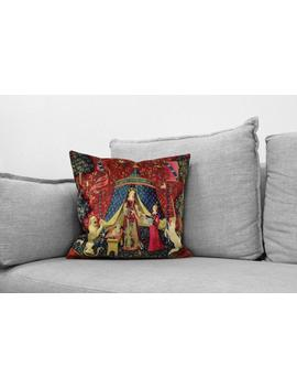 """The Lady And The Unicorn   18"""" Velveteen Pillow   Unicorn Tapestries, 1495   1505 by Etsy"""