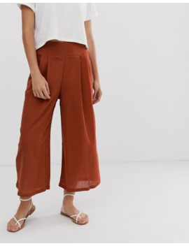 Asos Design Textured Culotte With Button Details by Asos Design