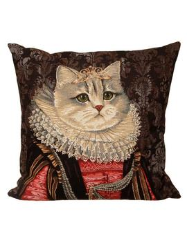 Belgian Tapestry Throw Pillow Cushion Cover Royal Portrait White Cat With Red And Black Dress And Lace Collar by Etsy