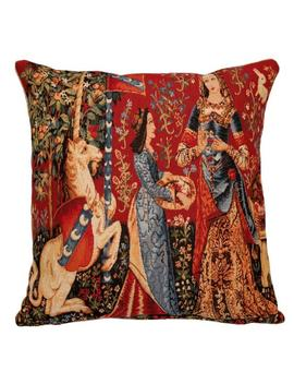 Jacquard Woven Belgian Gobelin Tapestry Cushion Pillow Cover The Smell   Lady And The Unicorn by Etsy