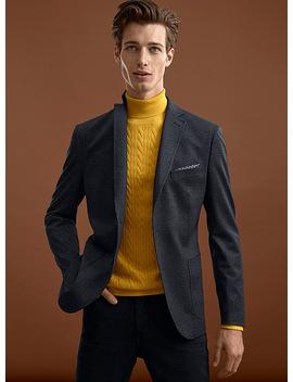 Indigo Prince Of Wales Jacket Semi Slim Fit by Bosco