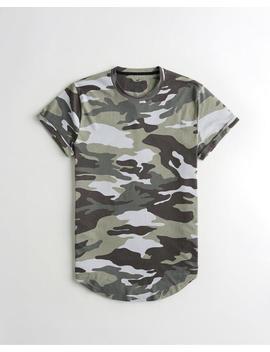 Camo Curved Hem T Shirt by Hollister