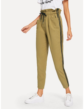 Drawstring Waist Frill Trousers by Shein