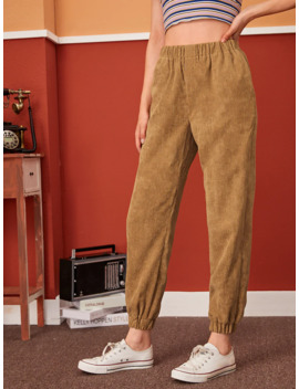 Pocket Side Tapered Corduroy Trousers by Shein