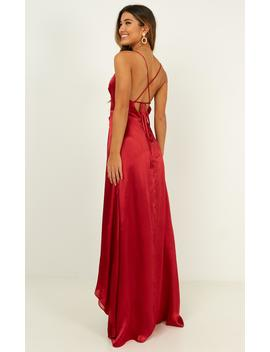 No Mistaking Dress In Red Satin by Showpo Fashion