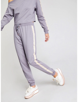 Sports Stripe Jogger Trousers by Shein
