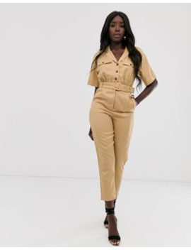 In The Style X Laura Jade Tan Tapered Leg Utility Jumpsuit by Jumpsuit
