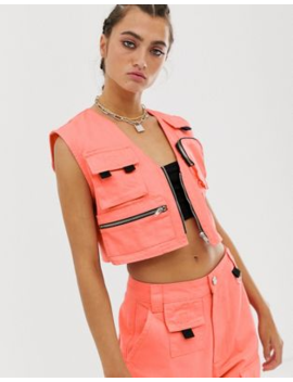 Asos Design Denim Utility Singlet In Coral by Asos Design