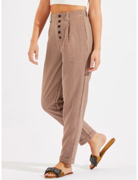 Checked Button Front Trousers by Shein