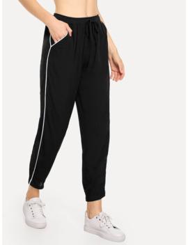 SheinSlant Pocket Striped Side Trousers by Shein