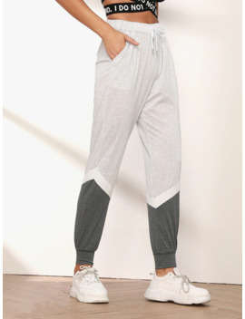 Cut And Sew Drawstring Joggers by Shein