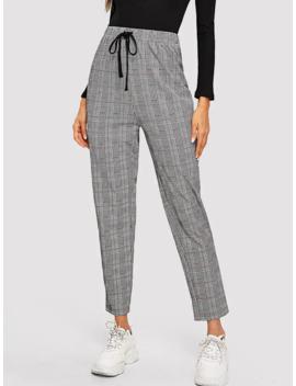 SheinDrawstring Waist Glen Plaid Trousers by Shein