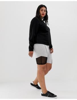 Asos Design Curve Contrast Panel Legging Short With Deep Waistband by Asos Design