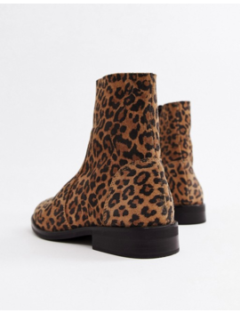 Asos Design Wide Fit Albany Suede Sock Boots In Leopard by Asos Design