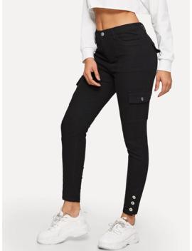 SheinButton Hem Flap Pocket Skinny Jeans by Shein