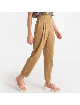 """Pleat Front High Waist Trousers, Length 27"""" by La Redoute Collections"""
