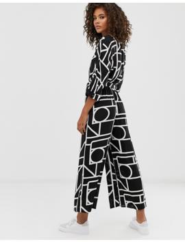 Asos Design Tall Tie Waist Jumpsuit In Mono Geo Print by Asos Design