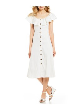 Ember Button Front Flutter A Line Linen Midi Dress by Antonio Melani