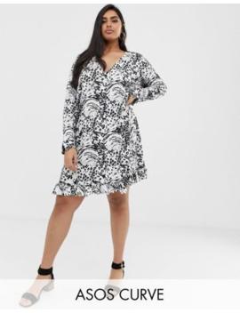 Asos Design Curve Animal Print Button Through Mini Dress by Asos Design