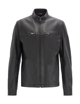 Leather Jacket In Lamb Nappa With Zipped Sleeves by Boss