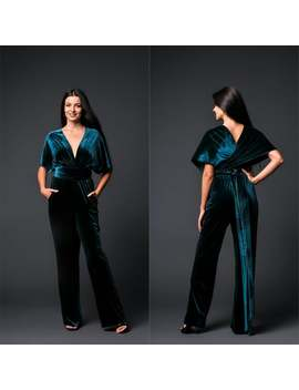 Wedding Velvet Jumpsuit Infinity, Wrap Bridesmaid Jumpsuit, Convertible Wide Leg Romper For Women by Etsy