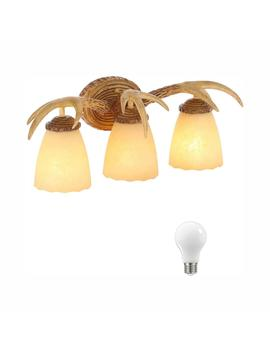 3 Light Natural Antler Vanity Light With Sunset Glass Shades, Dimmable Led Soft White Bulbs Included by Hampton Bay