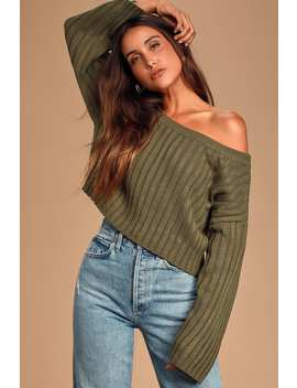 Novara Olive Green Ribbed Cropped Sweater by Lulus