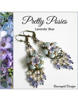 Pretty Posies Lavender Blue Lucite Flower Earrings, Swarovski Crystals &Amp; Pearls Earrings, Long Dangle, Bridesmaids, Vintage Style, Ravengirl by Etsy