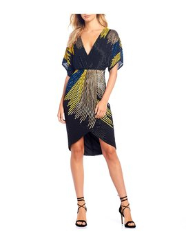 Bridget Beaded Colorblock Asymmetrical Kimono Sleeve Hi Low A Line Dress by Gianni Bini