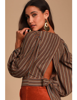 Autumn Nights Navy Multi Striped Tie Back Top by Free People
