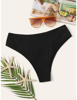 Solid High Leg Swimming Panty by Sheinside