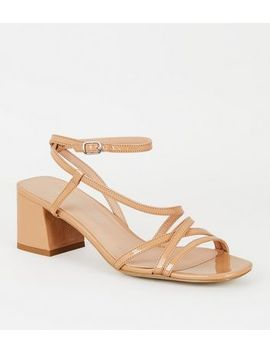 Nude Patent Flared Heel Strappy Sandals by New Look