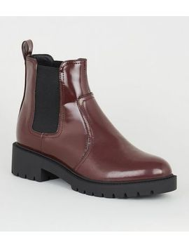 Wide Fit Dark Red Patent Chelsea Boots by New Look