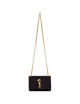 Black Suede Small Palm Tree Kate Bag by Saint Laurent