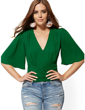 V Neck Bell Sleeve Blouse by New York & Company