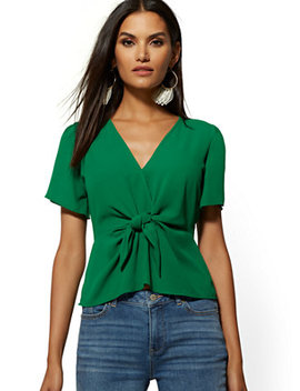 Green Slit Sleeve Tie Front Blouse by New York & Company