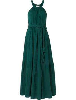 Escondido Belted Crinkled Cotton Voile Maxi Dress by Apiece Apart