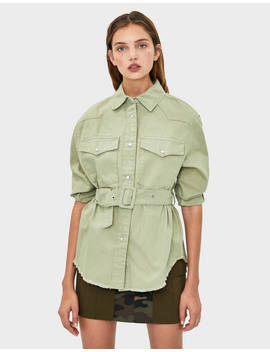 Belted Safari Jacket by Bershka