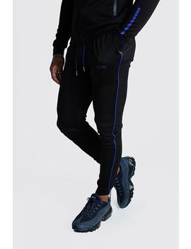 Man Active Muscle Fit Cobalt Tape Jogger by Boohoo
