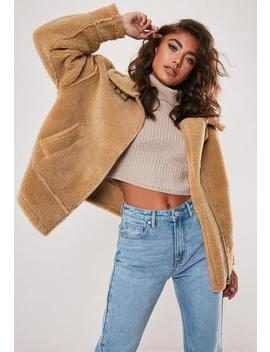 Petite Tan Teddy Ultimate Aviator Jacket by Missguided