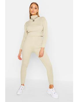 Knitted Crop Lounge Set by Boohoo