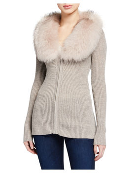 Zip Front Cashmere Rib Sweater With Fur Collar by Neiman Marcus Cashmere Collection