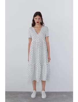 Flowy Printed Dress Midi Dresses Woman by Zara