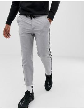 Bershka Pants In Grey With Side Stripe In Straight Fit by Bershka
