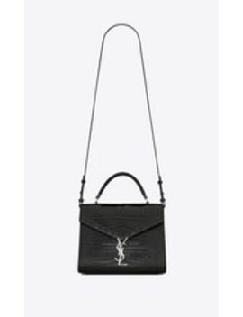 Cassandra Top Handle Medium Bag In Shiny Crocodile Embossed Leather by Saint Laurent