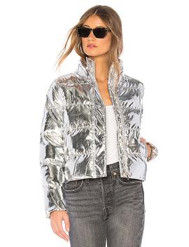 Stella Metallic Puffer Jacket In Silver by Superdown